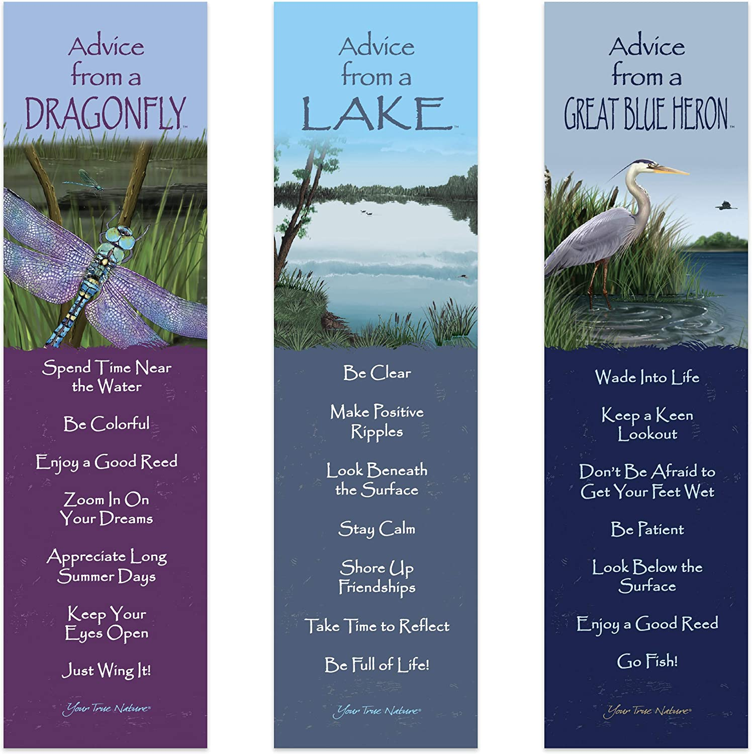 Advice from Nature 3 Bookmark Zen Set - Great Blue Heron, Lake, Dragonfly by Your True Nature