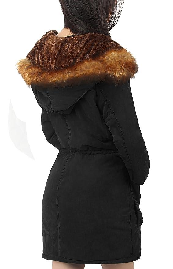 4How Damen Winterantel women Parka coat mit Pelzkapuze