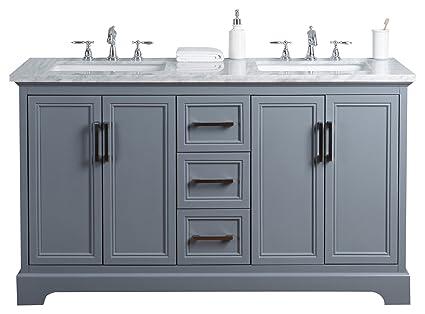 Stufurhome HD 1525G 60 CR Ariane 60 Inch Slate Gray Double Vanity Cabinet