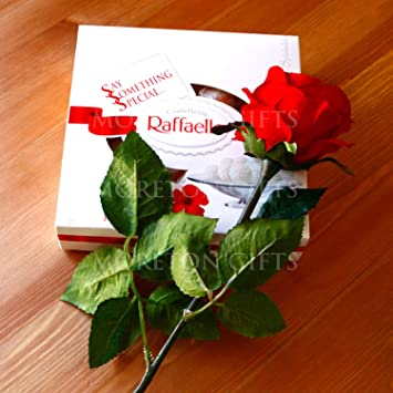 Amazon Com Moreton Gifts Red Rose With A Ferrero Raffaello Box