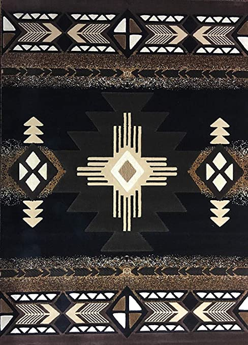 Southwest Native American Area Rug Black Brown Design C318 5 Feet 2 Inch X 7 Feet Furniture Decor