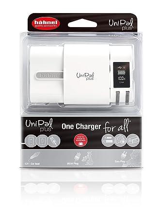 Hähnel Unipal Plus - Cargador universal para baterías Li-ion y NiMh (con adaptador de coche de 12V, USB, indicador nivel de carga, pantalla LCD)