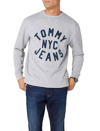 7b0c0156 Tommy Jeans Men's Essential Graphic Crew Sweatshirt, Grey (Lt Grey Htr 038),