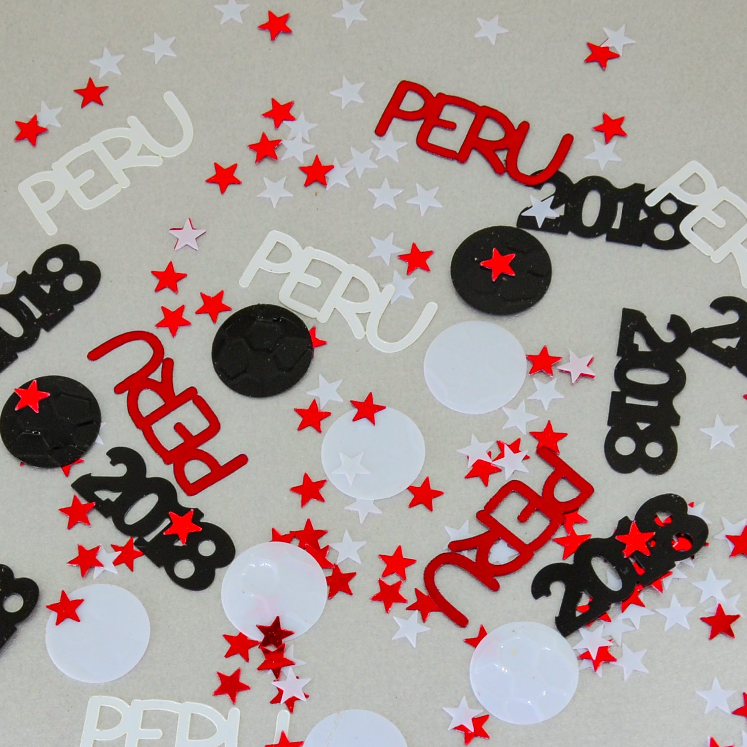 Peru World Cup Confetti 2018 Ball, Stars Red, White - Pouched #6153 - Free Ship by Jimmy Jems (Image #1)
