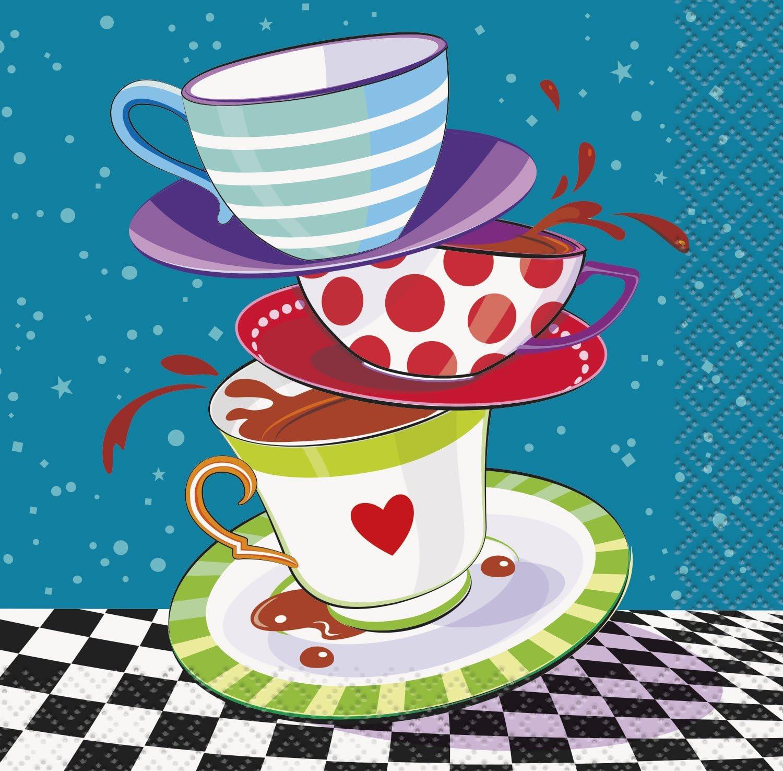 Amazon Com Mad Hatter Tea Party Beverage Napkins 16ct Kitchen Dining