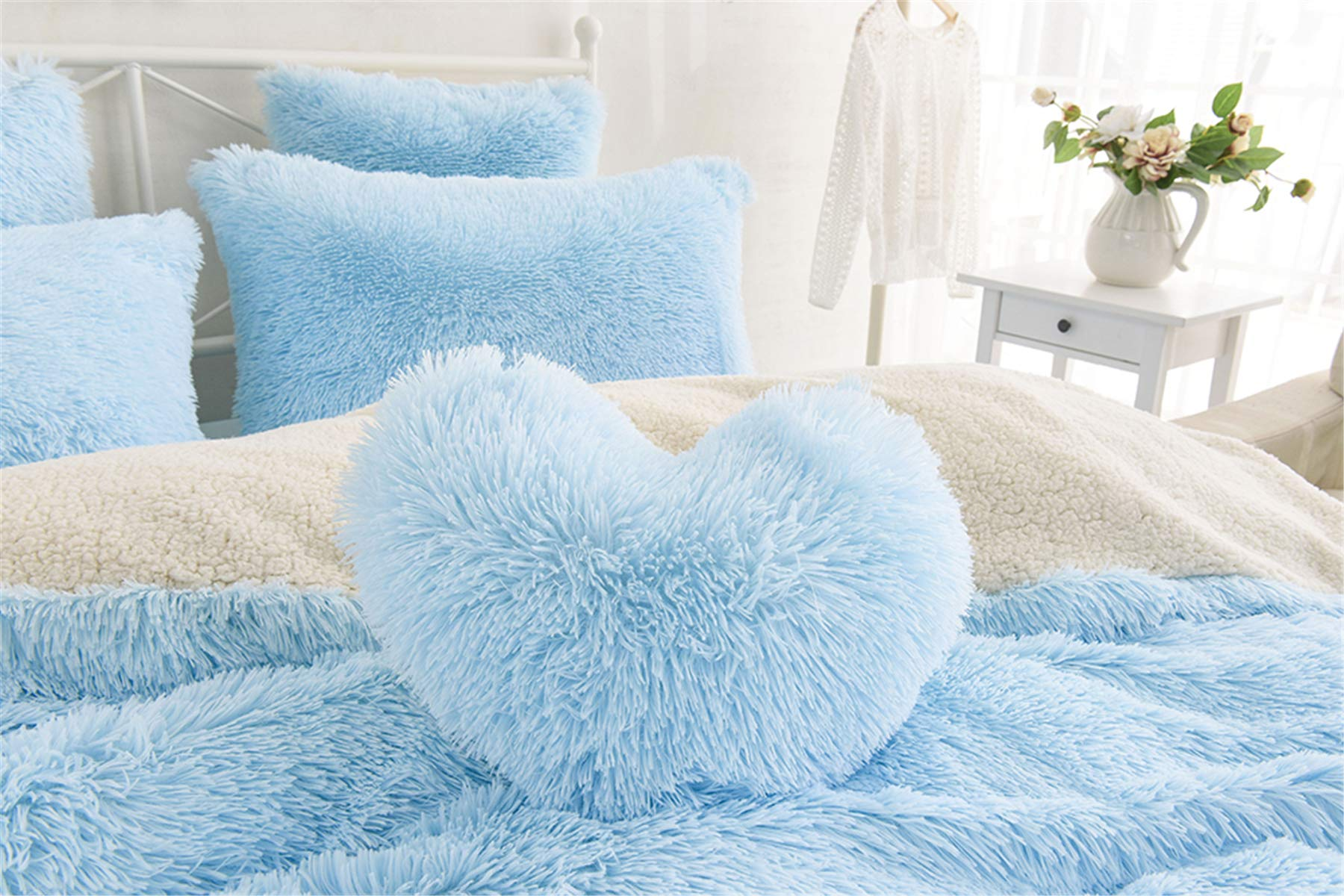 MooWoo 1pc Faux Fur Throw Pillow,Sherpa Plush Fluffy, Solid Color, Heart Shape (Blue)