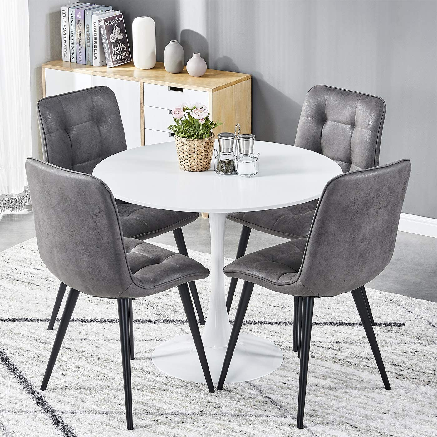 TONVISION Dining Table and Chairs Set 9 Grey Chairs with 9cm White Wooden  Table Retro Modern Home Kitchen Office Furniture White table and 9 Grey ...