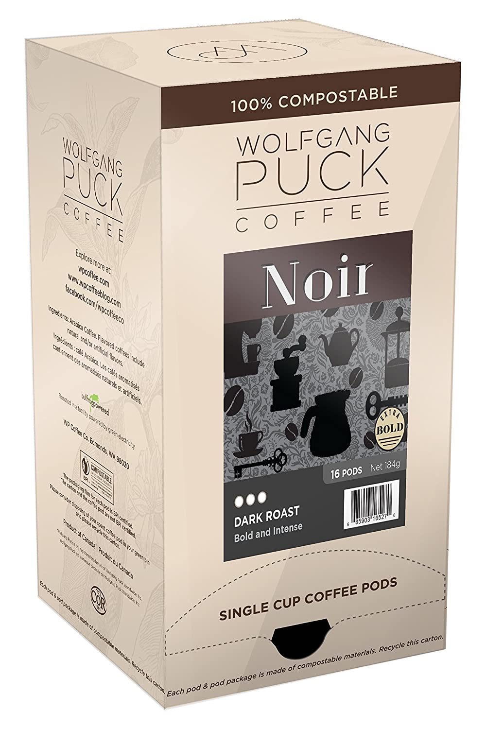 Wolfgang Puck Soft Coffee Pods Black, 96 Count