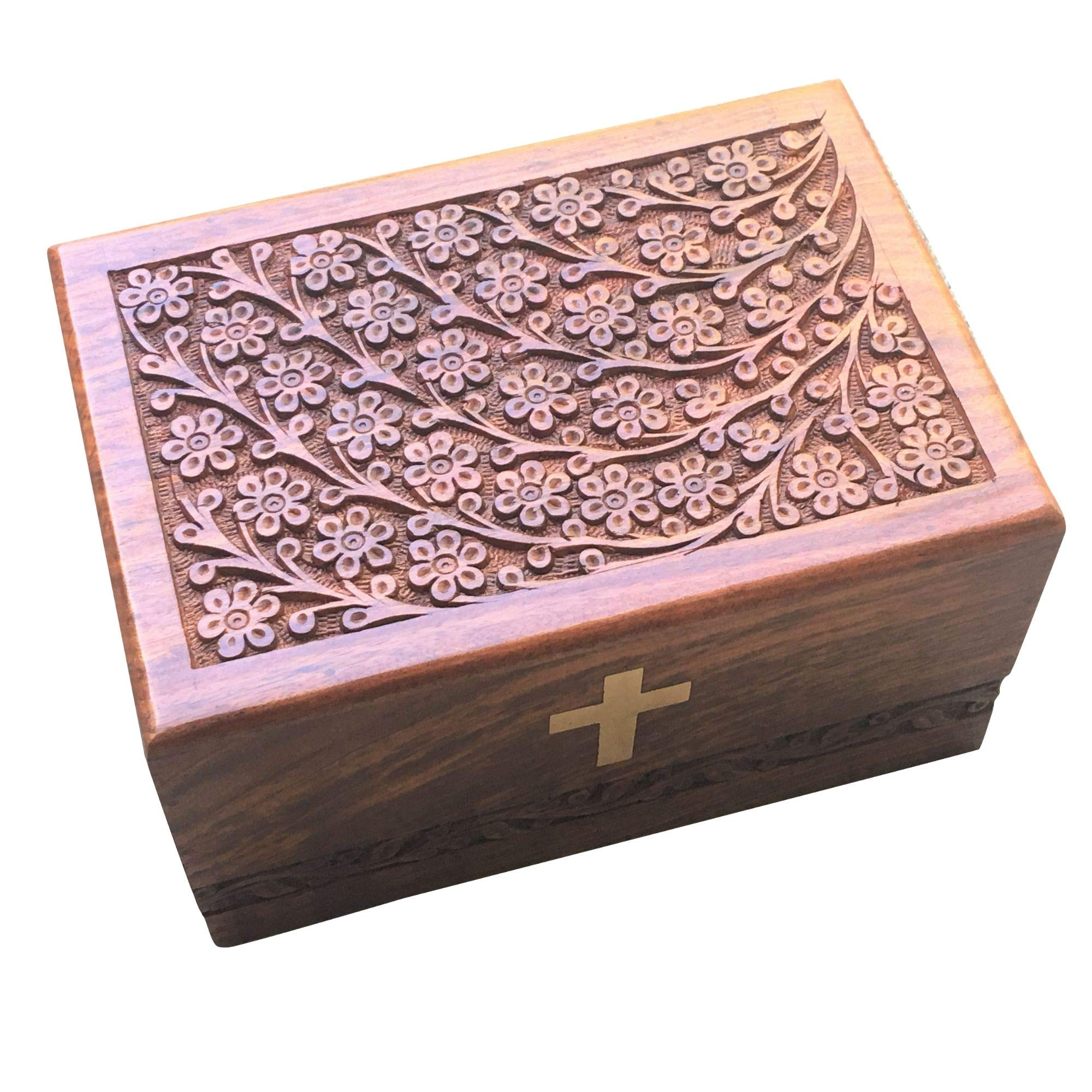 iBambooMart URN Box Large Tree of Life Rosewood Wooden Cremation Handmade Handcrafted Wood Box - 9''x6.5''x4.5'' for Ashes, Burial Adult, Pet, Dog, Cat, Elegant Design by iBambooMart