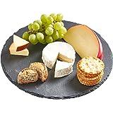 VonShef Revolving Lazy Susan Cheese Tapas Serving Board Tray, Slate, 11.8 Inch Diameter