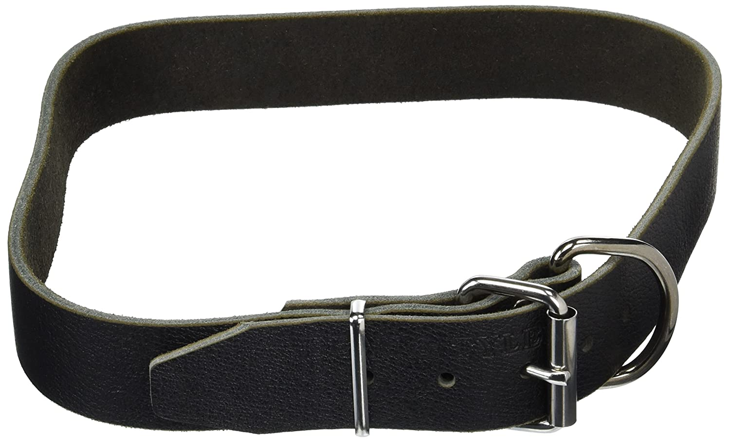 Dean and Tyler B and B , Basic Leather Dog Collar with Strong Nickel Hardware  Black  Size 34Inch by 11 2Inch  Fits Neck 32Inch to 36Inch