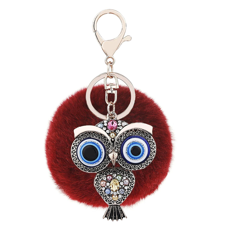 Colour 10 Ayiqi Solid Color Rabbit Plush Ball Owl Pendant Keychain Fluffy Handbag Charm Key Ring Car Key Decoration