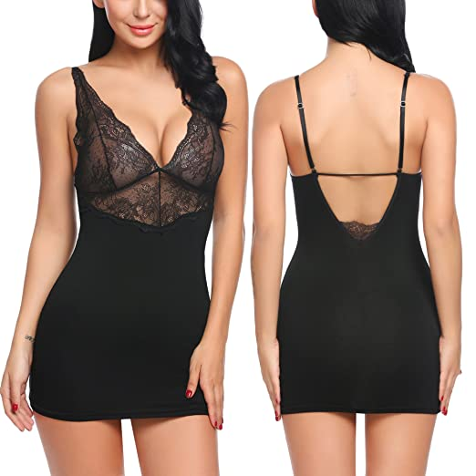 3741cdd35 Image Unavailable. Image not available for. Color  Avidlove Women Chemises  Sexy Lingerie V Neck Lace Babydoll Full Slip Sleepwear