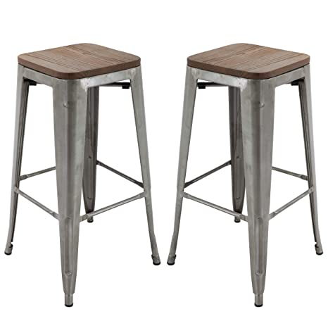 Phenomenal Brage Living 30 Backless Metal Bar Stools With Elm Wood Seat Top Brushed Metal Set Of 2 Bralicious Painted Fabric Chair Ideas Braliciousco