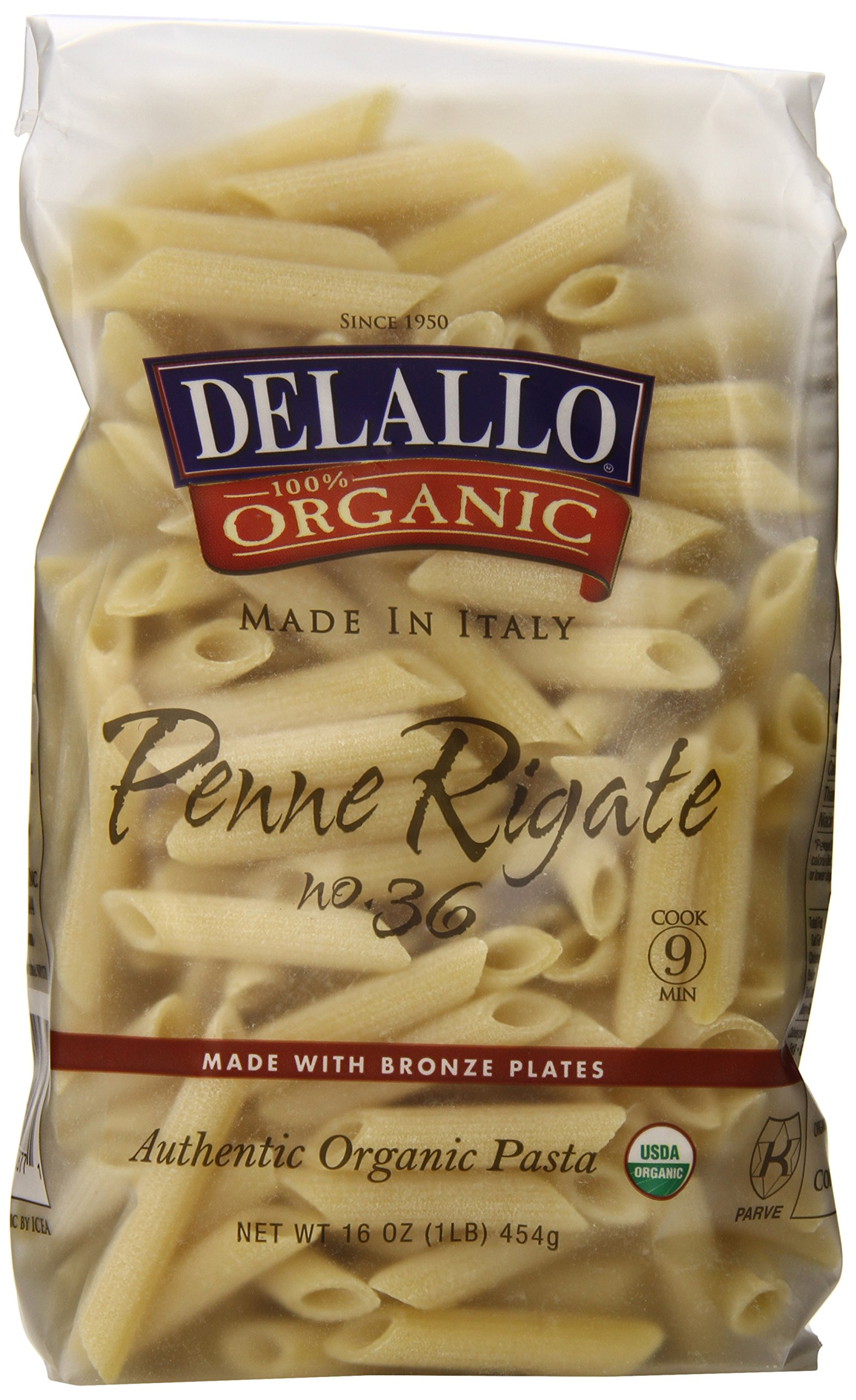 DeLallo Organic Penne Rigate #36, 16-Ounce Units (Pack of 16)