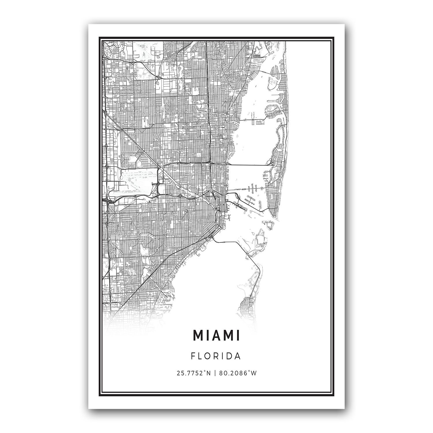 Amazon Com Miami Map Poster Print Modern Black And White Wall Art
