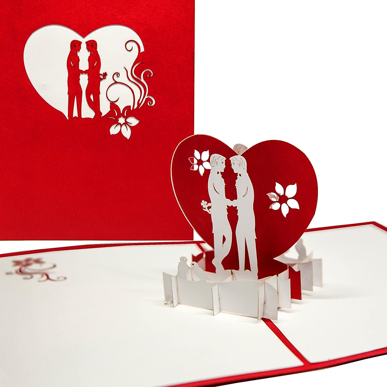 'Pop Up della carta kissing Boys–3d in carta Gay Love–schwule Amore, Gay Valentine, Gay Greeting Card Boys in Love, biglietto di San Valentino 3d, matrimonio carta schwule matrimonio, Gay Wedding Cologne Cards | Pop-Up Karten