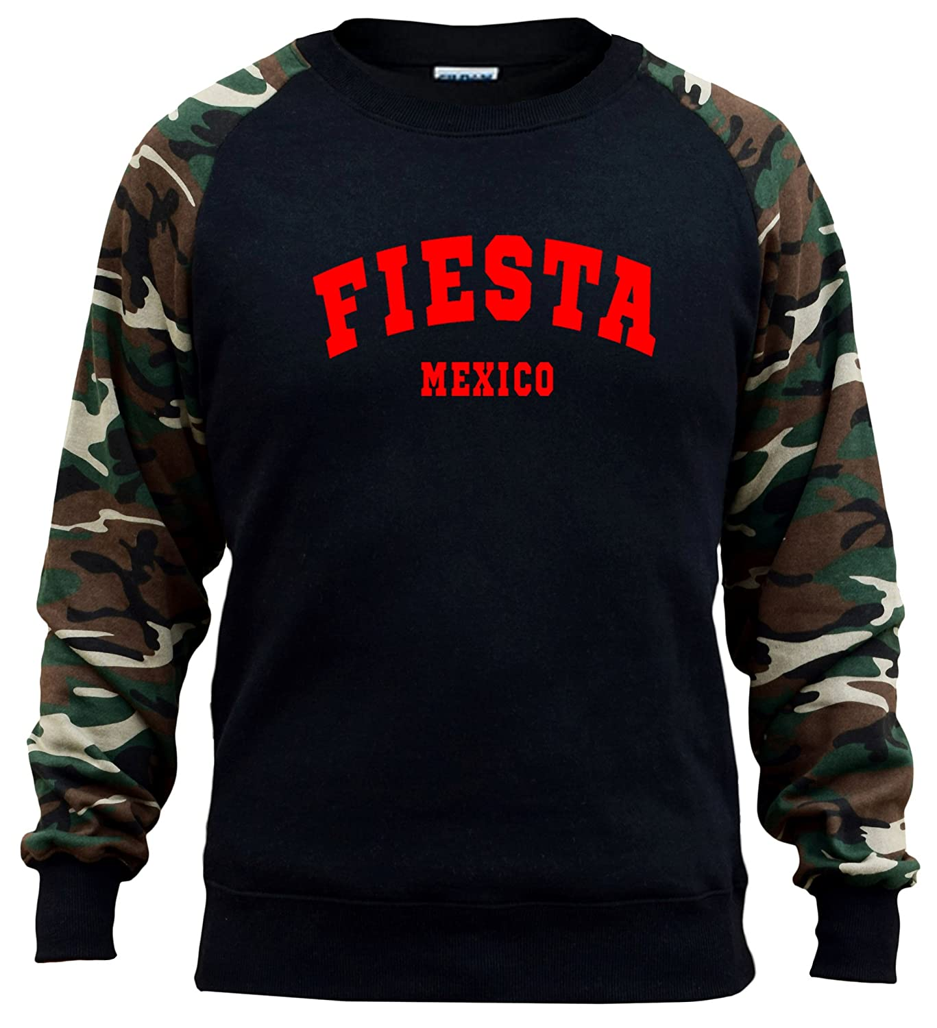Interstate Apparel Mens Fiesta Mexico V528 Black//Camo Raglan Baseball Sweatshirt Black