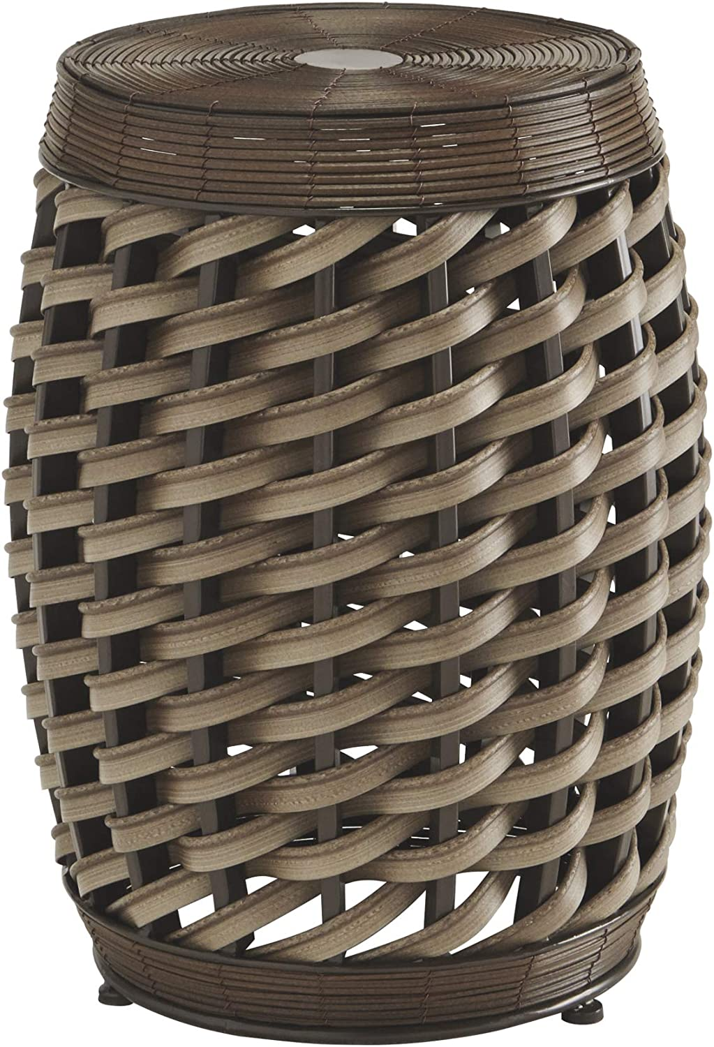 Ashley Furniture Signature Design – Elgielyn Indoor Outdoor Accent Table – Contemporary – Faux Rattan in Brown – Barrel Design