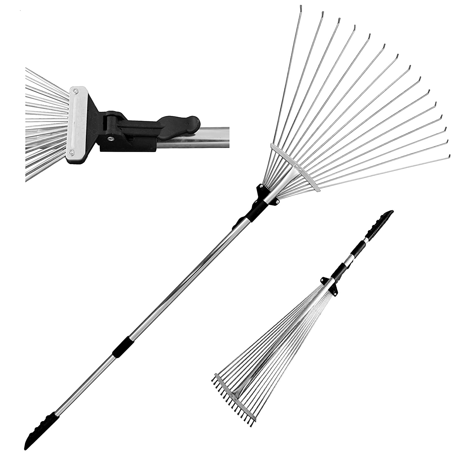 "TABOR TOOLS J16A Telescopic Metal Rake 63"", Adjustable Folding Leaves Rake for Quick Clean Up of Lawn and Yard, Garden Leaf Rake, Expanding Handle with Adjustable 8""- 23"" Folding Head"