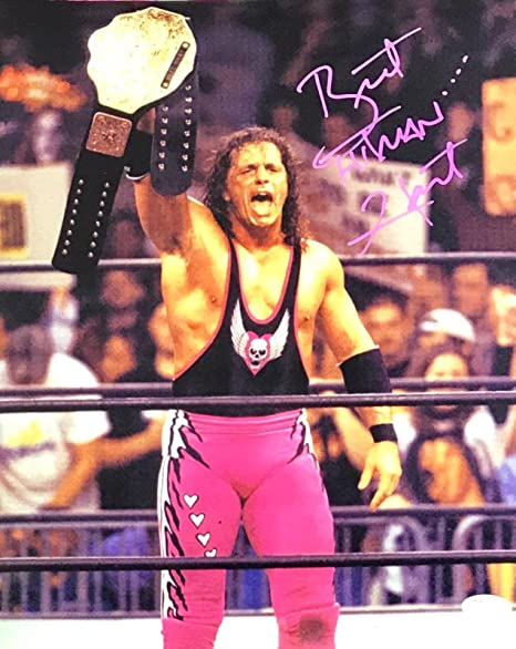 3277b60ff0e Bret The Hitman Hart WWE WCW Signed Autographed 11x14 Photo JSA Authentic 2  Pink at Amazon s Sports Collectibles Store