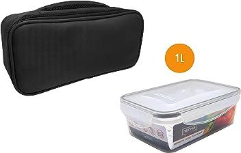 NERTHUS FIH 411 Lunch Box herm/ético Individual con Cuchara Blanco//Naranja//Gris /Única