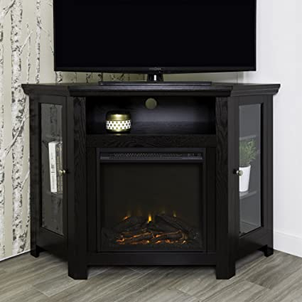 WE Furniture 48quot Corner TV Stand Fireplace Console
