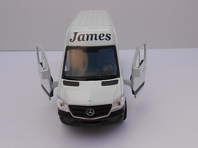 Cuidado de juguete, furgoneta personalizada **cualquier nombre**, Mercedes Sprinter Van Boy, Día de los Niños, blanco, furgoneta, hombre, ...