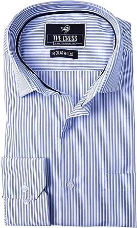 Camisa para Hombre de algodón Puro con Rayas Blancas y moradas: Amazon.es: Ropa y accesorios