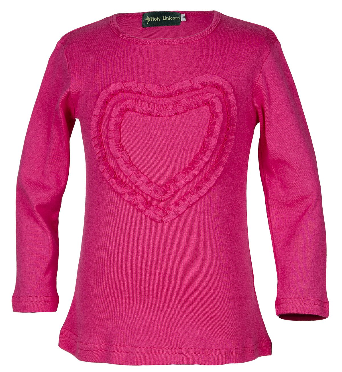 Girls' Ruffled Love Heart Long Sleeve Crew Neck Tee Shirt Top Amaranth 8