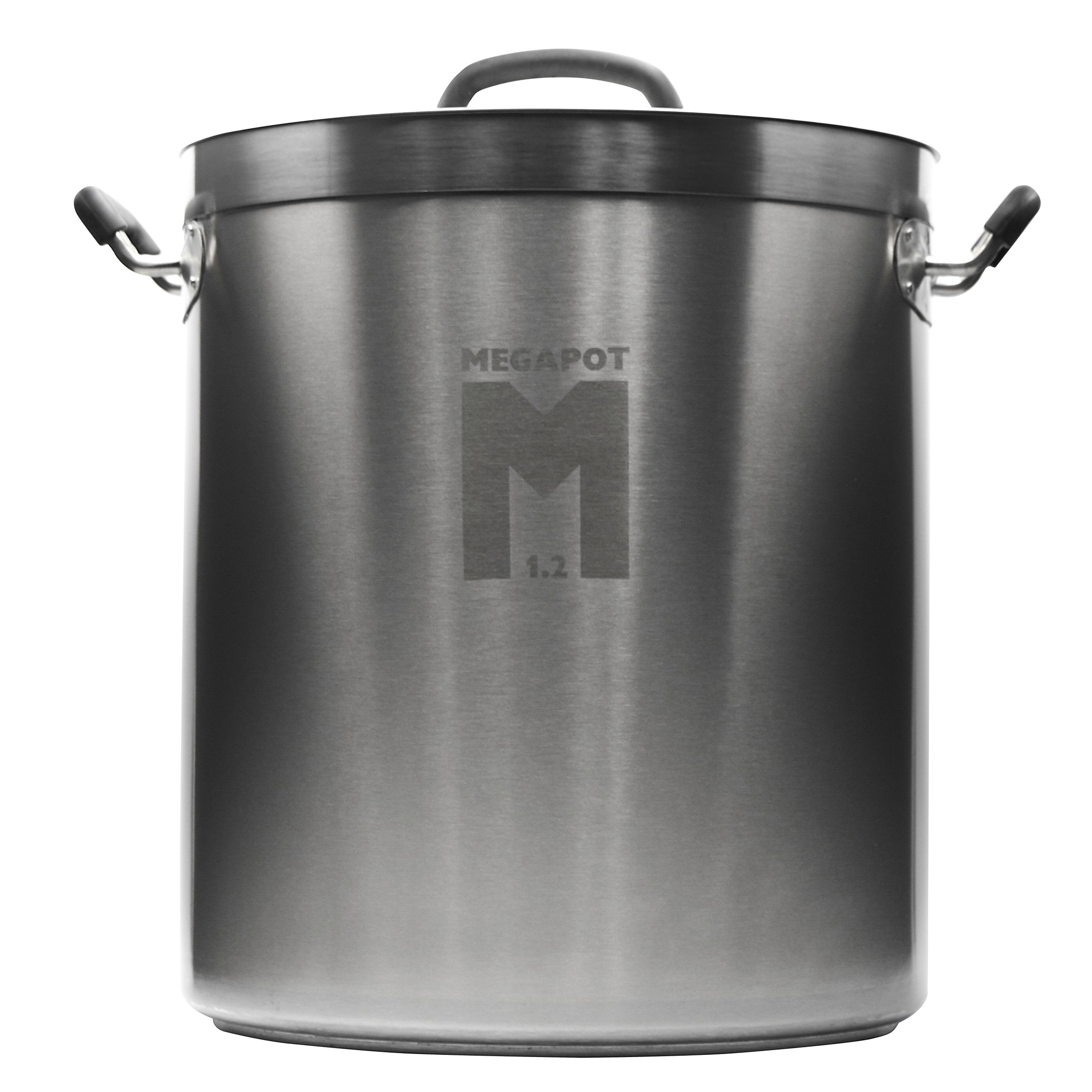 Northern Brewer - Megapot 1.2 Homebrew Stainless Steel Undrilled Brew Kettle Stock Pot For Beer Brewing (Plain Kettle, 8 Gallon/32 Quarts)