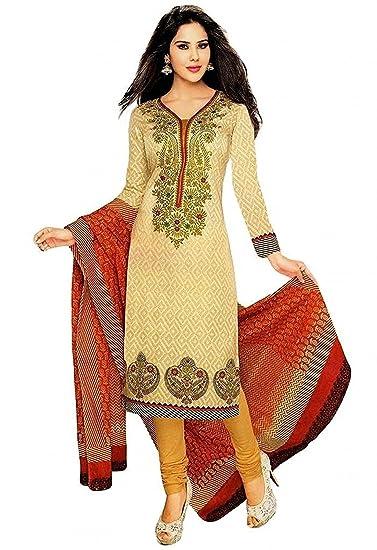 cdcd9b4cef Lady Loop Women's Cotton Salwar Suit (LadySemi-Stitched  Fabric-Senorita_Beige_Free Size): Amazon.in: Clothing & Accessories