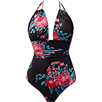 2e5dda23e6 B2prity Women s One Piece Swimsuits Tummy Control Swimwear Slimming  Monokini Bathing Suits for Women Backless V