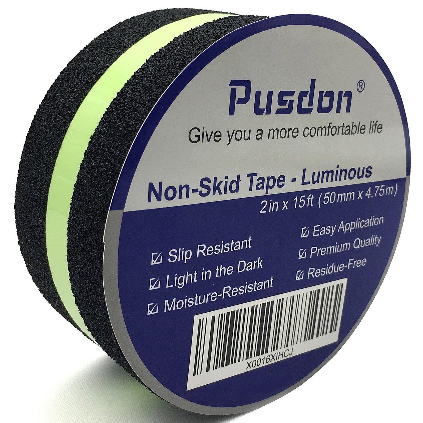 Pusdon Anti Slip Non Skid Safety Tape, Black, 3-Inch x 15Ft (76mm x 4.75m) PleasingCare