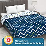 Divine Casa Twilight Abstract 110 GSM Microfiber All Weather Double Dohar - Blue and Off White