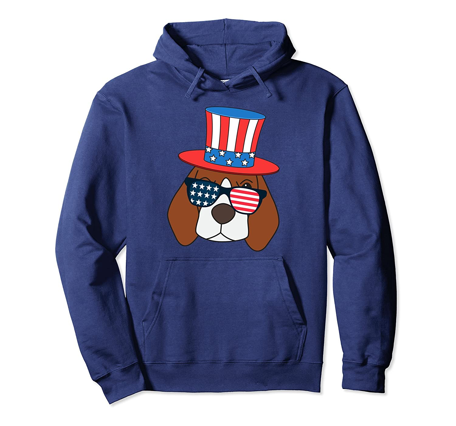 4th of July American Flag Patriot Beagle Dog Hoodie-anz