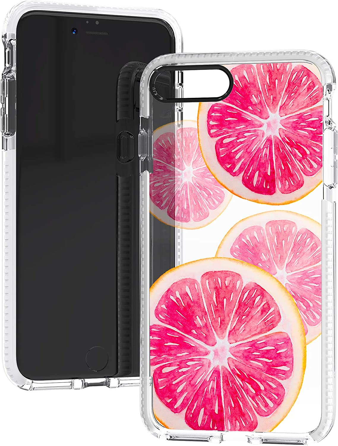iPhone 7 Plus Case,iPhone 8 Plus Case,Pink Peach Sweet Fruits Orange Grapefruits Summer Tropical Beach Trendy Cute Girls Soft Protective Clear Case with Design Compatible for iPhone 7 Plus/8 Plus
