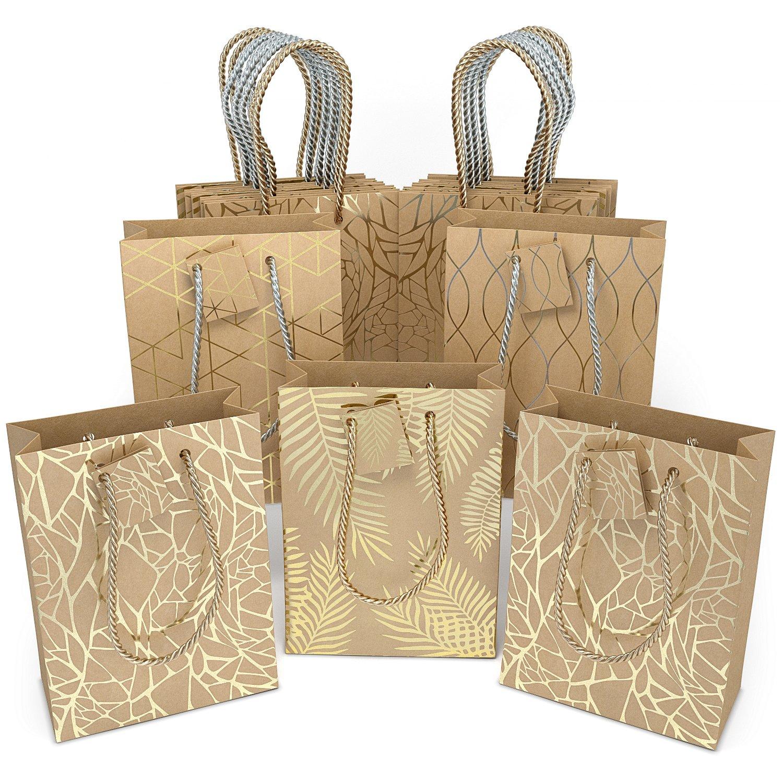 Glogex Gift Bags, Kraft Paper Gifts Bag for Birthday, Weddings Presents (Set of 16 Kraft Bags, 4 Designs)