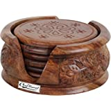 Craftland Wooden Round Carved Coaster Set for Kitchen/Dining Table,Set of 6