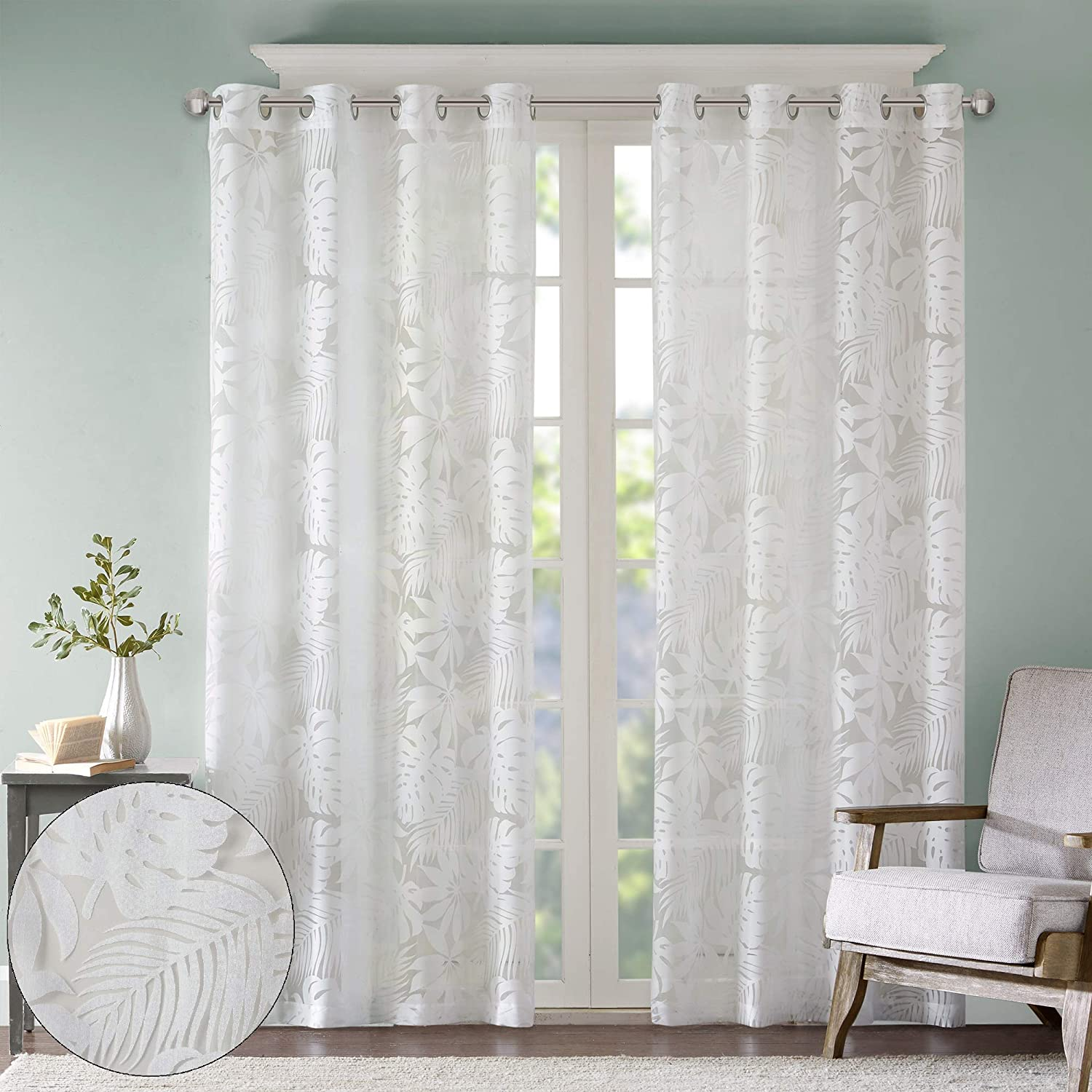 Amazon Com Madison Park Botanical Sheer Curtains For Bedroom Modern Contemporary Linen Grommet Living Room Nature Summer Fashion Panel 50x84 Tropical White Home Kitchen