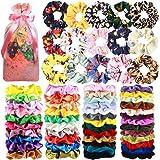 65 Pcs Hair Scrunchies Velvet Hair Scrunchies Silk Scrunchies Chiffon Flower Scrunchies Elastic Hair Ties Ropes…