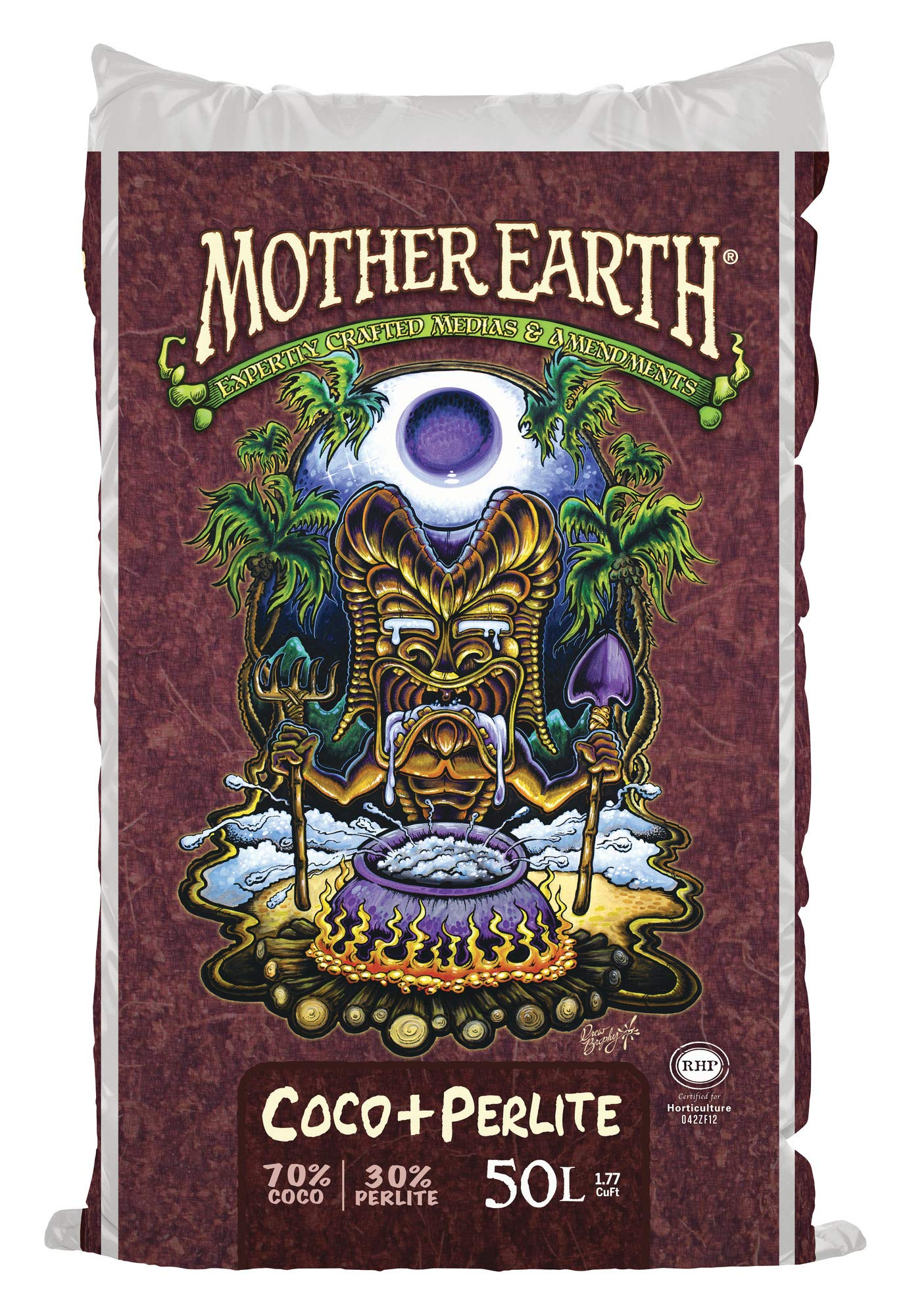 MOTHER EARTH Coco Plus Perlite Mix - For Indoor and Outdoor Container Gardens, Provides Strong Aeration & Drainage, 70% Coconut Coir, Resists Compaction, 50 Liter