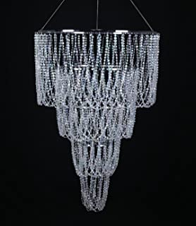 FlavorThings Faux Crystal Sparkling Iridescent Beaded Spiral - Long chandelier crystals