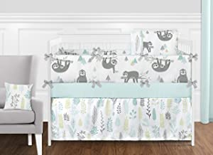Sweet Jojo Designs Blue and Grey Jungle Sloth Leaf Baby Unisex Boy or Girl Nursery Crib Bedding Set with Bumper - 9 Pieces - Turquoise, Gray and Green Tropical Botanical Rainforest