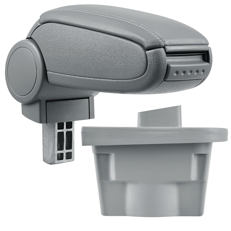 [pro.tec] Reposabrazos central – Apoyabrazos con compartimento – acolchado – polipiel – negro con costuras blancas
