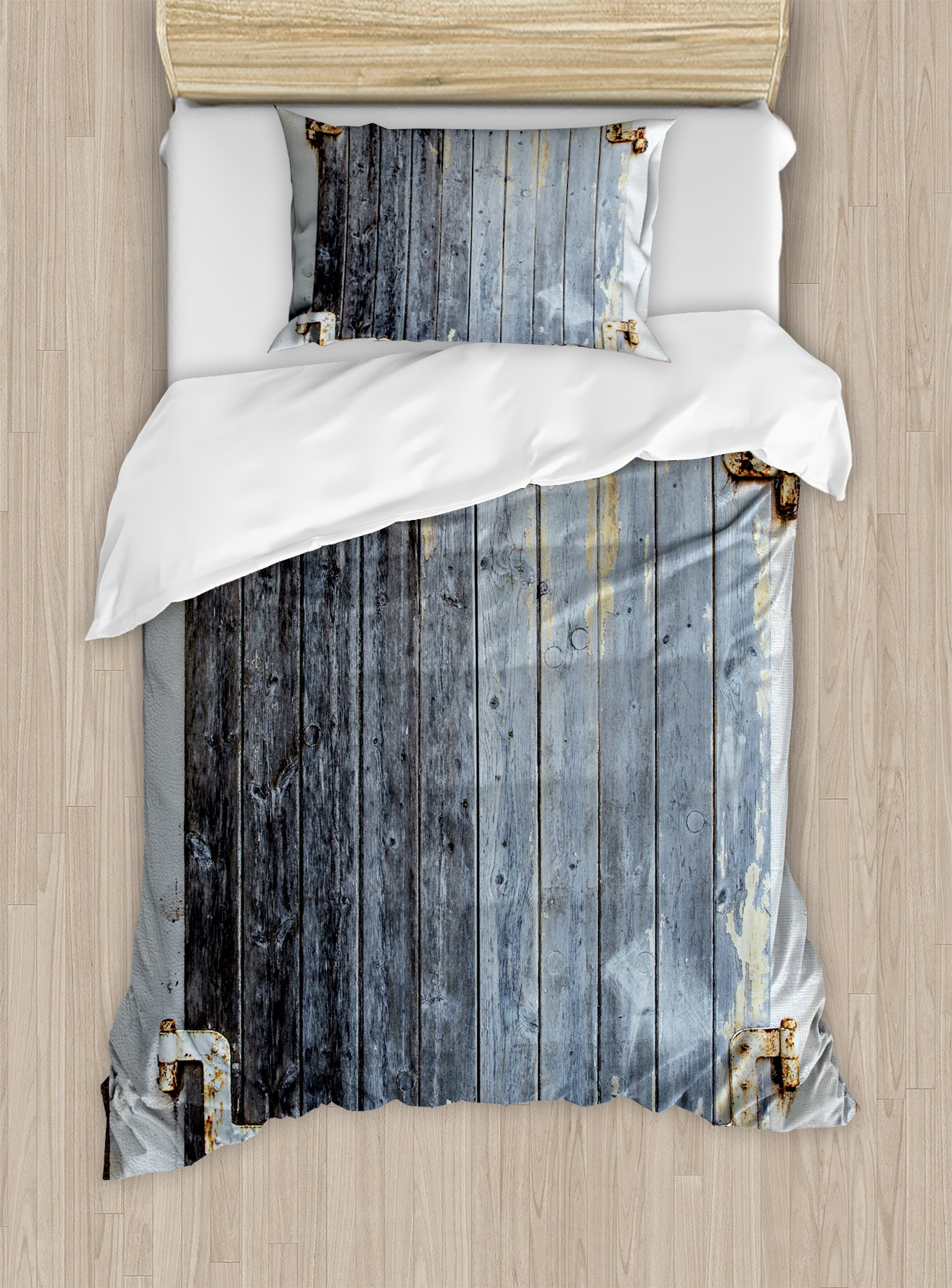 Ambesonne Shutters Duvet Cover Set Twin Size, Wooden Window Shutters with Shabby Paint Rusty Antique Traditional Village Picture, Decorative 2 Piece Bedding Set with 1 Pillow Sham, Charcoal
