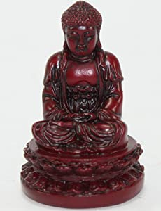 """Feng Shui 2"""" Red Meditating Buddha Figurines Peace Luck Prosperity Statues Paperweights Gift Home Decor Housewarming Gift US Seller"""