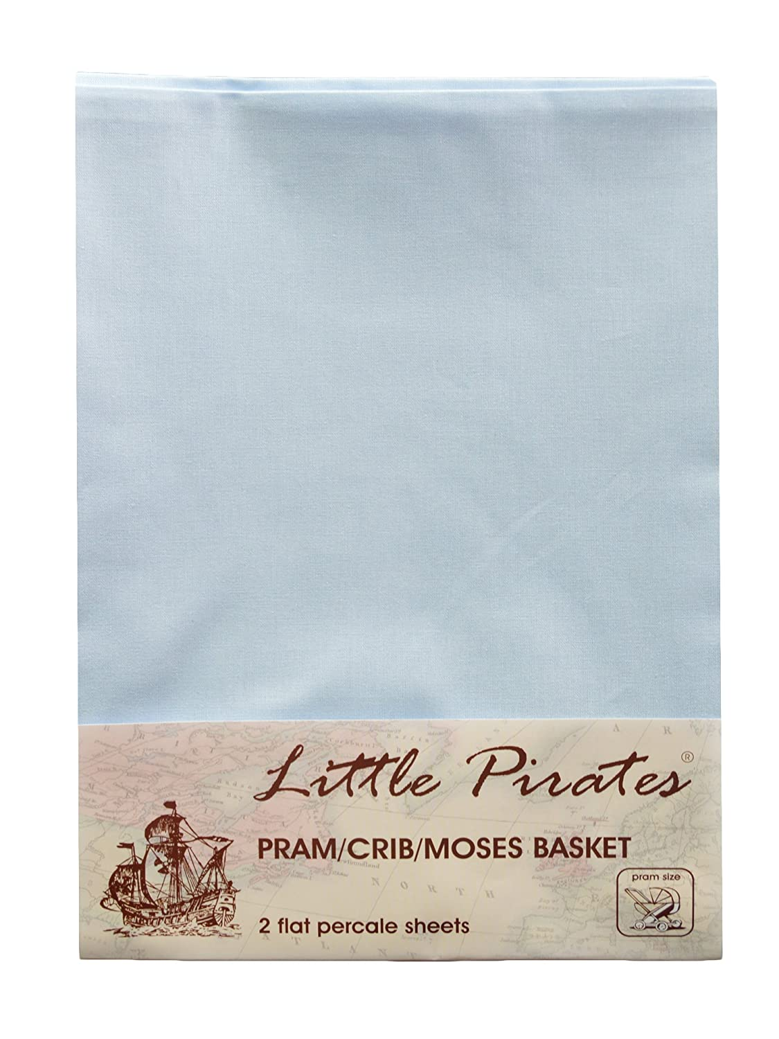 2 x Baby Pram/Crib/ Moses Basket Blue Flat Sheet 100% Luxury Brushed Cotton Little Pirates