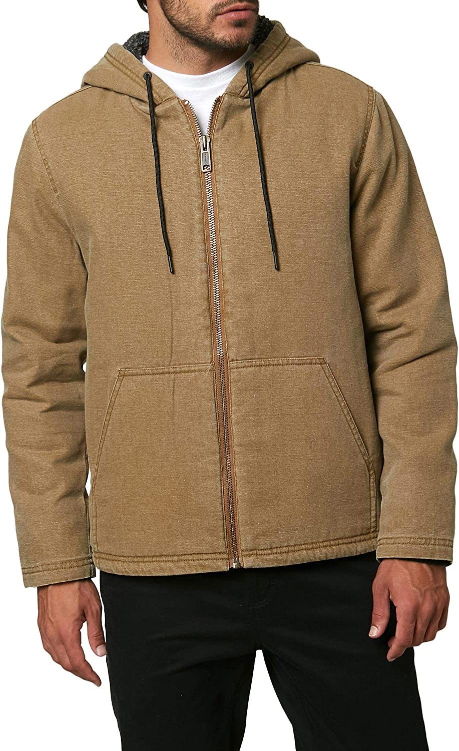 O'NEILL Men's Hooded Zip Up Canvas Jacket (Tobacco/Chapman, XL): Clothing