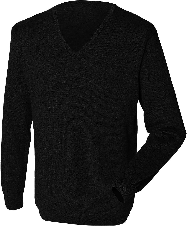 Henbury Mens 12 Gauge Fine Knit V Neck JumperSweatshirt